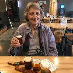 Joann Luther enjoying her tasting flight.