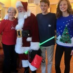 Lynne Templeton with her grandkids and St. Nick!